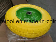 Heavy Duty Wheelbarrow 3.50-8 Yellow PU Wheels with Metal Rim pictures & photos