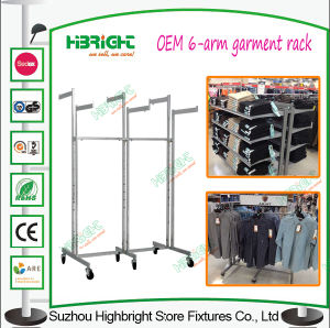 Fixtures for Clothing Shop Six Way Metal Rolling Garment Racks pictures & photos