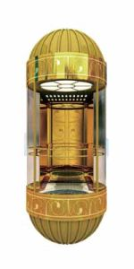 Ti-Gold Mirror Etched St. St. Semi-Circular Sightseeing Elevator pictures & photos