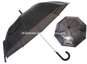 Drizzles Ladies and Men′s Transparent Umbrella Clear PVC with Skull Print Crook Handle