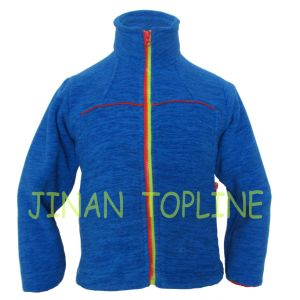 Women Blue Full Zipper Cationic Dyed Fleece Jacket pictures & photos