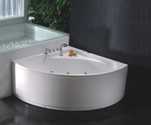 CE/Cupc Corner Skirted Whirlpool Bath Tubs with Jets Massage pictures & photos