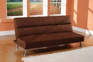 3-Seater Fabric Brown Modern Sofa Bed