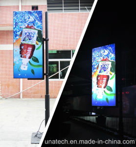 Outdoor Street Pillar Lamp Pole Ads PP Paper Banner PVC Aluminium Frame LED Light Box pictures & photos