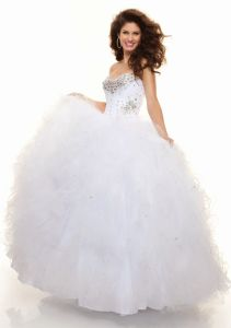Beaded White Organza Ball Gowns Long Evening Dresses (ED3044) pictures & photos