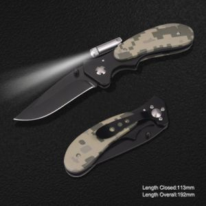 Folding Knife with LED Torch and Camo Handle (#3873) pictures & photos