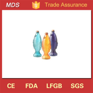 Factory Price Coloured Decorative Fish Shape Glass Bottle with Cork pictures & photos