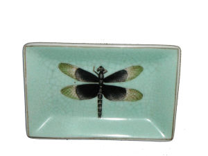 Ceramic with Dragonfly Painting Rectangular Saucer/Tray Use for Soap (CGG3049)
