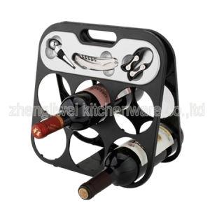 Six Bottle Wine Rack Black Color (608355-B) pictures & photos
