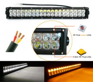 Adf LED Light Bar CREE 100W 20inch Dual Row Color Whtie Amber for Jeep Wrangler Boat ATV SUV