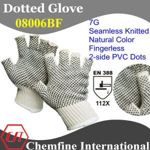 7g Natural Color Polyester/Cotton Knitted Fingerless Glove with 2-Side Black PVC Dots/ En388: 112X pictures & photos