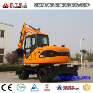 Chinese New Hydraulic Excavator 8 Ton 39.8kw Wheel Excavator for Sale pictures & photos