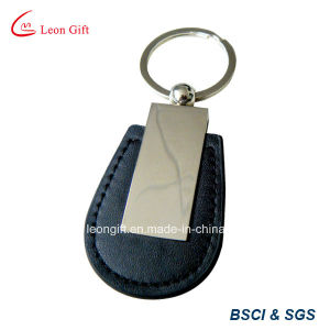 Cheapest Silver Metal and PU Leather Key Chain pictures & photos