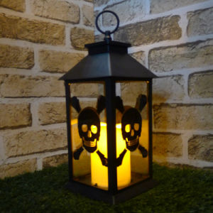 Big Halloween Black Skull and Crossbones Lantern