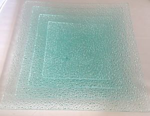 Retro Square Clean Diamond Raindrop Glass Food Tempered Glass Plate pictures & photos