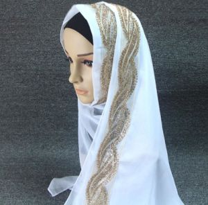 Elegant Style Sheer Chiffon Muslin Long Hijab Scarf with Rhinestone pictures & photos
