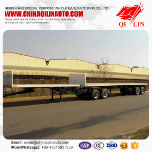 2 Axle Interlink Flatbed Truck Semi Trailer with Fifth Wheel pictures & photos