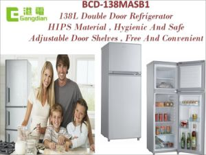 CFC Free 138L Double Door HIPS House Electric Refrigerator