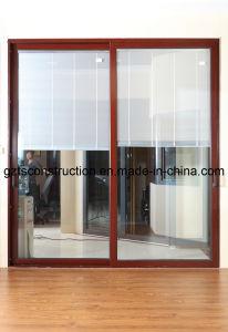 Sliding Door Aluminum Sliding Door Design with Electric Blinds pictures & photos