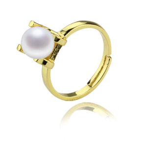Gold Plated 925 Sterling Silver Fresh Water Pearl Ring