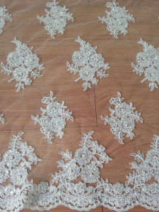 Floral-Designed Embroidery Bridal Lace Fabric for Wedding Dress