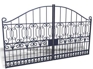 Hot-Selling Classical Eyebrow Top Wrought Iron Double Swing Gates pictures & photos