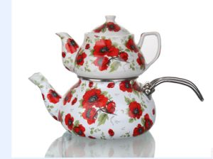 2.4+0.9L Porcelain and Enamel Teapot Set with Stainless Steel pictures & photos