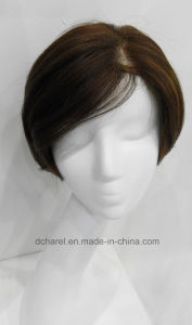Handtied Mono Top Hair Parting Line Synthetic Hair Wig pictures & photos