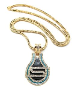 "New Iced out 50cent SMS ′s′ Pendant 4mm&36"" Franco Chain Hip Hop Necklace XP887"