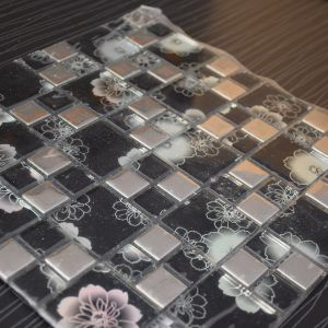 Good Quality Black Square Metal Mix Crystal Glass Mosaic Tile pictures & photos