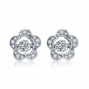 Flower 925 Silver Stud Earrings with Dancing Stone Jewelry pictures & photos