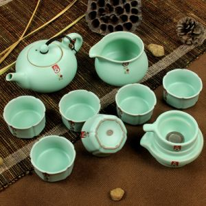 10PCS Ruyao Porcelain Tea Set Japanese Teapot Great for High End Business Gifts (RY002)