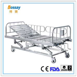 Hospital Furniture Type Three Crank Stainless Steel Manual Hospital Bed pictures & photos