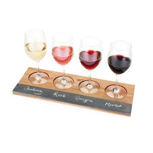 Personalized Bamboo & Slate Wine Tasting Flight, Letters W-I-N-E pictures & photos