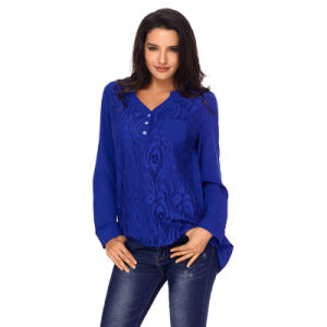 Ladies Fashion Blue Lace Roll Tab Sleeve Blouse pictures & photos