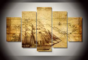 HD Printed Old Map Painting on Canvas Room Decoration Print Poster Picture Canvas Framed Mc-080 pictures & photos