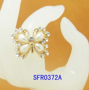 Fashion Jewelry Butterfly Pearl & Glass Ring Fashion Ring Jewelry (SFR0372A)