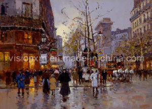 Paris Streets Oil Painting (SJMY1125)