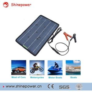 12 Volts 10 Watts Portable Power Solar Panel Battery Charger Backup for Car Boat with Alligator Clip Adapter pictures & photos