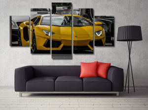 HD Printed Yellow Sport Car Picture Painting Wall Art Canvas Print Room Decor Print Poster Picture Canvas Mc-123 pictures & photos