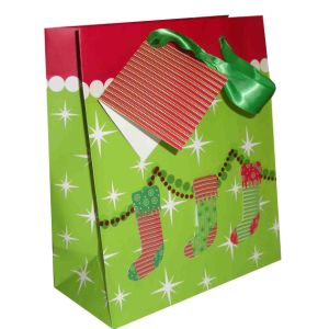 Christmas Gift Paper Bag with Cotton Ribbon Handle pictures & photos
