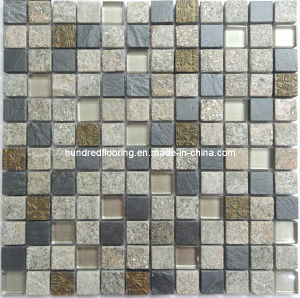 Stone Mosaic Mix Crystal Glass Mosaic Tile (HGM225) pictures & photos