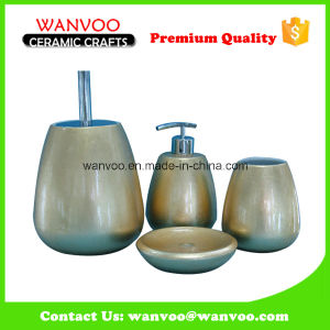 Cheap Fashionable Artificial Ceramic Bathroom Set with Toilet Brush Holder pictures & photos
