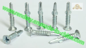Screw/Non-Skid Head with Winged Phillips White Zinc Plated Self Drilling Concrete Screw pictures & photos
