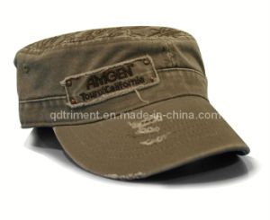 Grinding Washed Applique Embroidery Army Leisure Military Cap (TRM015) pictures & photos