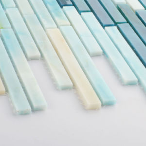 Hand Cut Strip Blue Pattern Tile Glass Mosaic for Sale pictures & photos