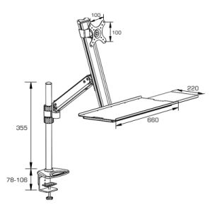 Height Adjustable Desktop Mount with Desk Clamp pictures & photos