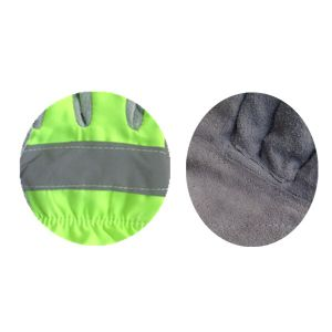 Fluorescent Green Cow Split Leather D-Palm Working Glove (3060. FG) pictures & photos