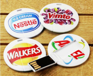 Round Credit Card USB Pen Drive Flash Drive USB Round as Promotional Gift with Low Price pictures & photos