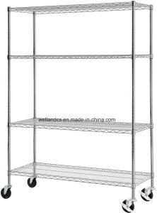 Multi-Purpose & Heavy Duty 4-Tier Durable Chrome Steel Wire Garage Storage Shelving Trolley Cart pictures & photos